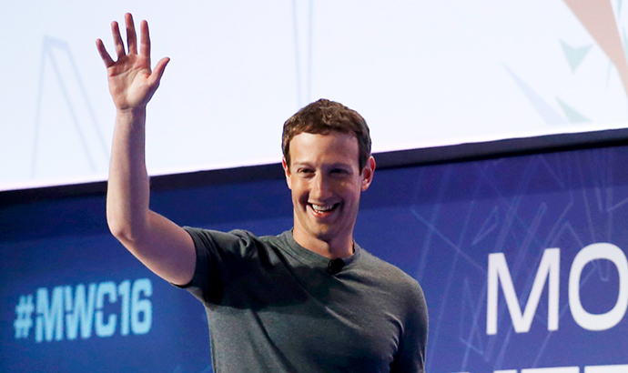 Mark Zuckerberg  en el Mobile World Congress 2016