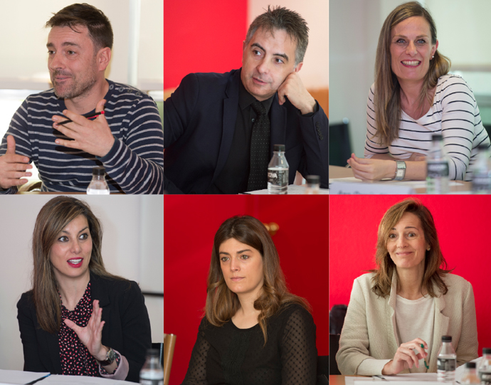 De izquierda a derecha, y de arriba abajo, David Rodríguez, Carlos Mateos, Marta Vallejo, Pilar Martínez, Susana Gaytán y Beatriz González-Quevedo.