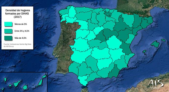 Mapa de España donde se aprecian los núcleos urbanos con mayor proporción de familias DINKs.