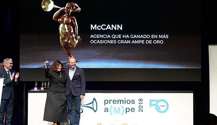 McCann ha recibido un galardón extraordinario en los Ampe como la agencia que más veces ha sido vencedora en estos premios de publicidad.