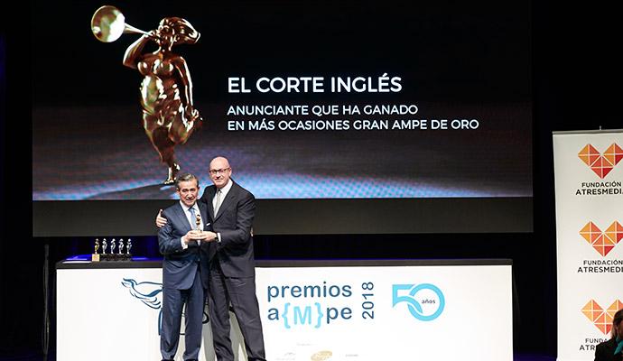 El Corte Inglés ha ganado un galardón extraordinario en los AMPE, como el anunciante que más veces ha resultado triunfador en estos premios de publicidad.