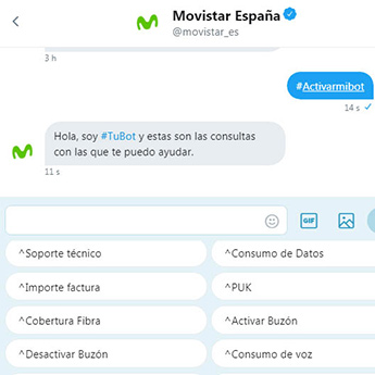 Proyecto de Inteligencia Artificial de Movistar y Twitter que desarrolla una solución de atención al cliente a través de un bot .