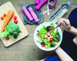 Yoga female cooking homemade salad