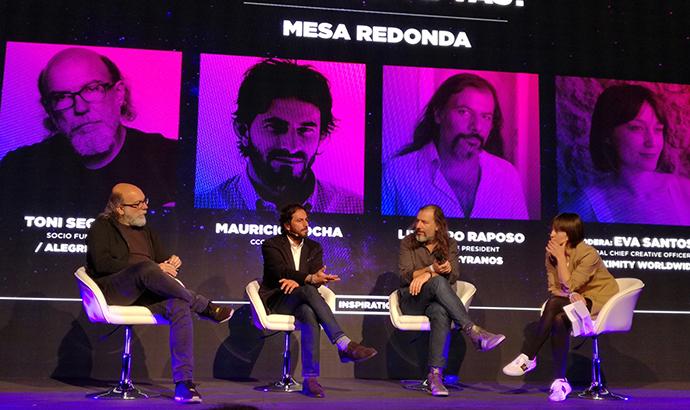 De izquierda a derecha, Toni Segarra, Mauricio Rocha, Leandro Raposo y Eva Santos durante la la charla que inauguró el Festival Inspirational 2019.