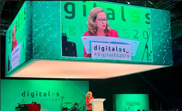 La ministra Nadia Calviño en la apertura oficial de DigitalES Summit 2019.