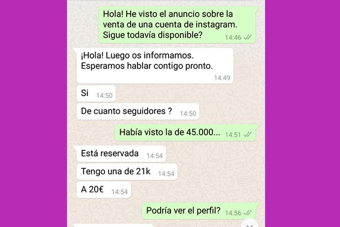 Un usuario vende su cuenta de Instagram