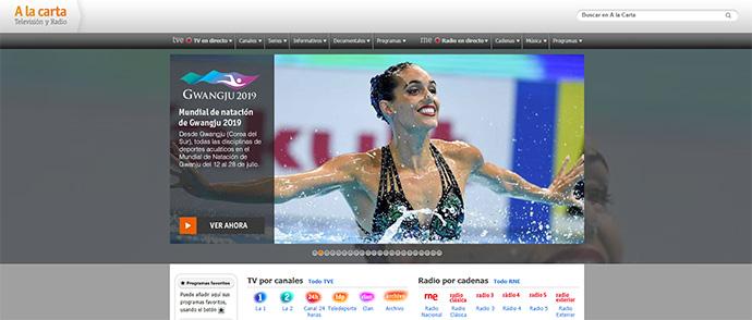 Telefónica tiene un año para ejecutar el rediseño del portal de RTVE. Foto: pantallazo de la plataforma 'A la carta', día 15 de julio de 2019.