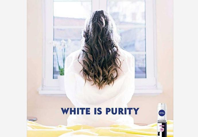 """""""White is purity"""", presentada hace dos años en Oriente Medio, ante el lanzamiento de la loción corporal natural Fairness."""
