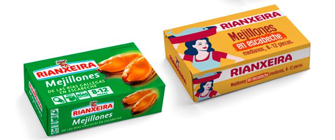 """El """"antes y después"""" del packaging de Rianxeira."""