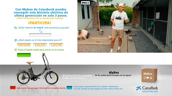 Pieza de la campaña interactiva de CaixaBank con tecnología Hybrid Ads en Dmax (Discovery).