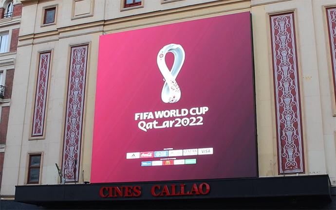 Callao City Lights proyecta el logo oficial de Qatar 2022