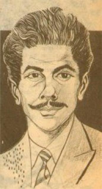 Autocaricatura de Julio Montañés, publicada en el número doble 13-14 de la revista `Duwarín´.