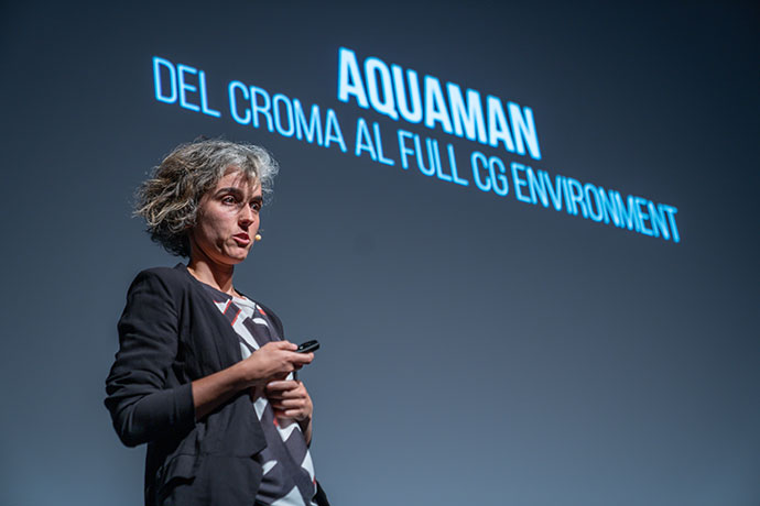 La artista de VFX Lucía Peralta, durante su ponencia.