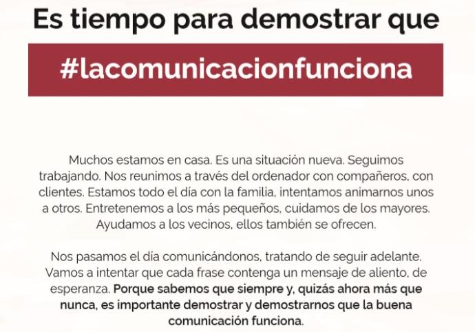 """La acción, que se llama """"Es tiempo para demostrar que la comunicación funciona"""", será difundida en radio, prensa, revistas, medios digitales"""