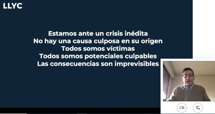 Webinar 'Comunicar en un entorno de Crisis Global' de IPMARK, protagonizado por Arturo Pinedo, socio y director general para España y Portugal de LLYC