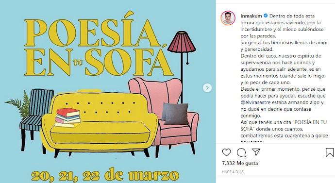 'Poesía en tu sofá', programado para los días 20, 21 y 22 de marzo, a través de la red social Instagram.